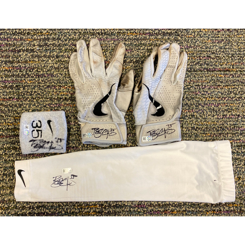 Photo of 2019 Autographed Batting Gloves, Arm Sleeve & Wristband Set - #35 Brandon Crawford