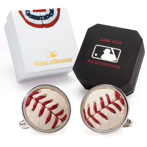 Photo of Tokens & Icons Chicago Cubs 2016 World Series Game Used Baseball Cuff Links