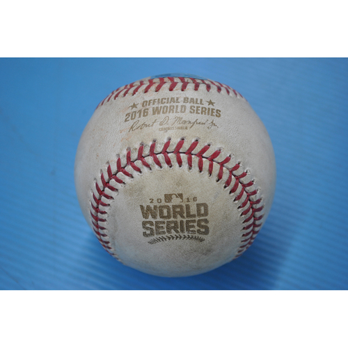 Photo of Game-Used Baseball - 2016 World Series - Game 2 - Pitcher: Trevor Bauer, Batter: Anthony Rizzo - Pitch in Dirt - 3rd Inning