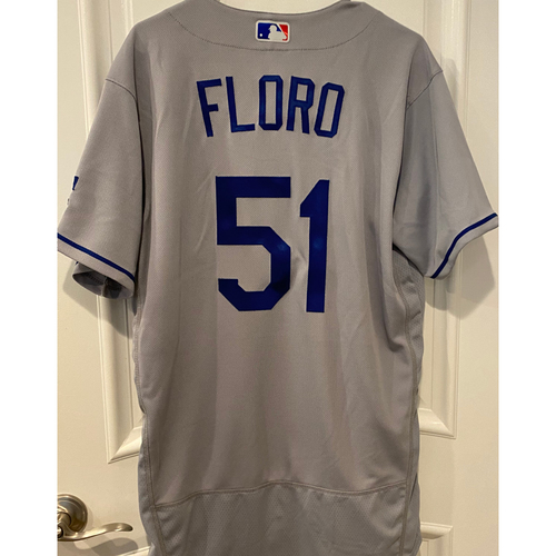 Photo of Dylan Floro Authentic Game-Used Jersey from 8/16/20 Game vs LAA - Size  44