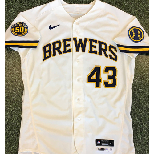 Photo of Drew Rasmussen 2020 Team-Issued Home Cream Jersey