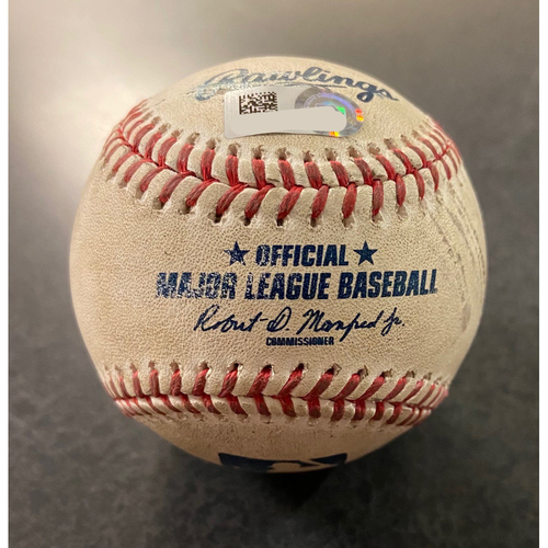 Photo of Game Used Baseball: Batter: Kyle Seager (2 Run Home Run). Pitcher:  Kolby Allard- Bottom 1st (TEX @ SEA -9/7/2020)