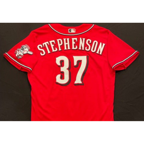Photo of Tyler Stephenson -- 2021 Los Rojos Jersey -- Game Used from May 5 (Starting C) & Sept 24 (Pinch Hitter) -- Size: 46