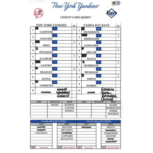 Photo of Yankees at Tampa Bay 4-5-2017 Game-Used Lineup Card