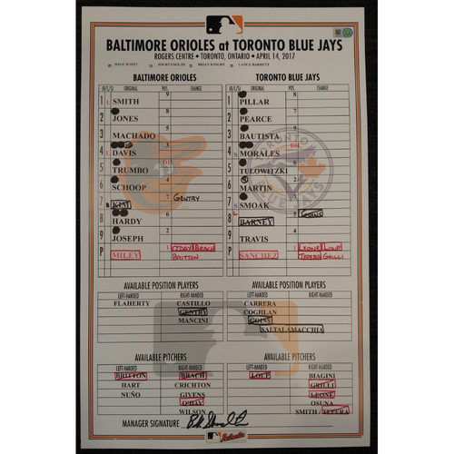 Photo of Game-Used Lineup Card: Zach Britton Ties AL Consecutive Save Record of 54