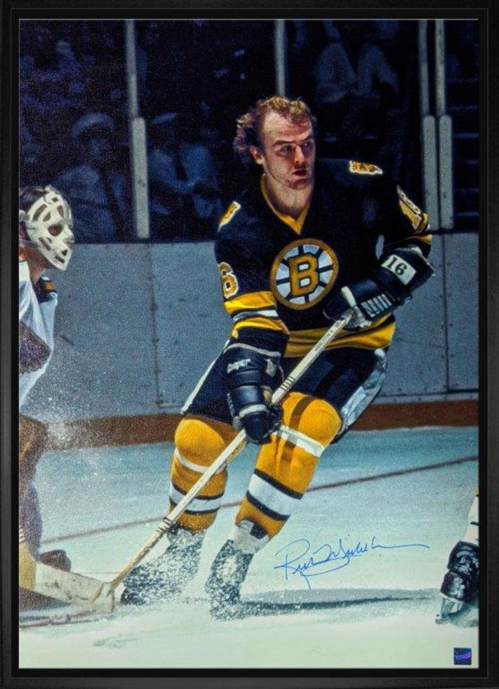 Rick Middleton Signed 20x29 Canvas Framed Bruins Black Front of Blues Goalie
