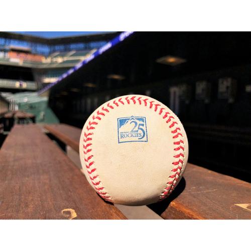 Photo of Colorado Rockies Player-Collected Baseball - Matz v. Arenado - 3-RBI Home Run, LeMahieu and Blackmon score - June 21, 2018
