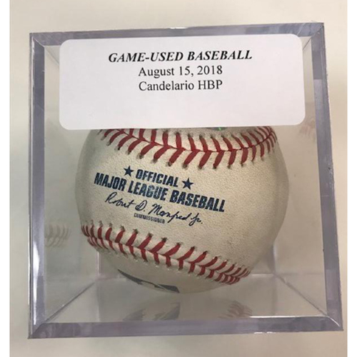 Photo of Game-Used Baseball: Jeimer Candelario Hit by Pitch