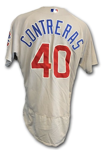Photo of Willson Contreras Game-Used Jersey -- Opening Day 2018 -- Cubs at Marlins -- 3/29/18 -- Contreras 1 Hit, 1 RBI