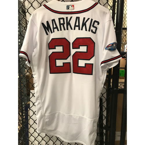Photo of Nick Markakis Game-Used 2018 NLDS Jersey - Worn 10/7/18 - First Postseason Game at SunTrust Park