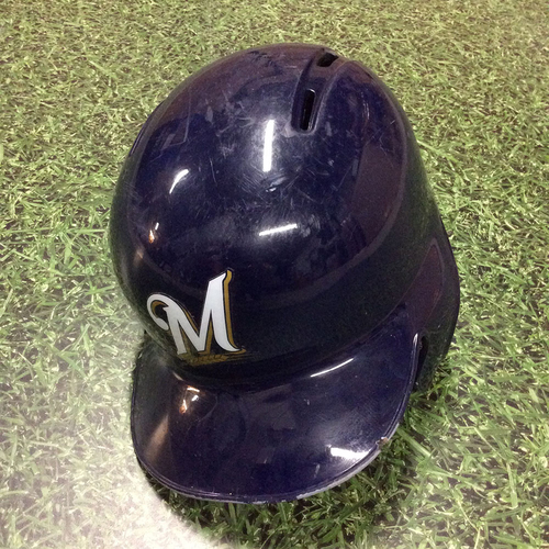 Photo of Lorenzo Cain 2018 Game-Used Batting Helmet (9/17 - Yelich 2nd Cycle Game; 9/26 - Postseason-Clinching Game)