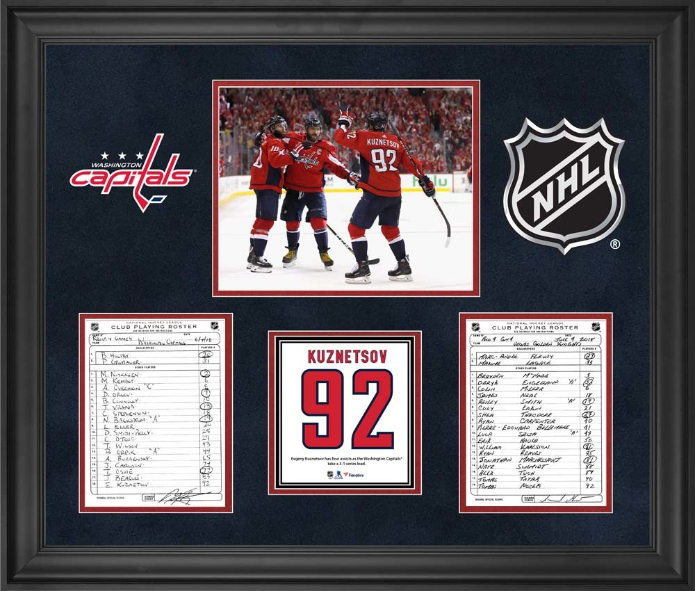 Washington Capitals Framed Original Line-Up Cards from Game 4 of the 2018 Stanley Cup Final on June 4, 2018 vs. Vegas Golden Knights - Evgeny Kuznetsov Records Four Assists as Capitals Take 3-1 Series Lead
