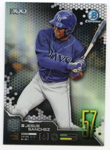 Photo of 2019 Bowman Chrome Scouts Top 100 #BTP57 Jesus Sanchez