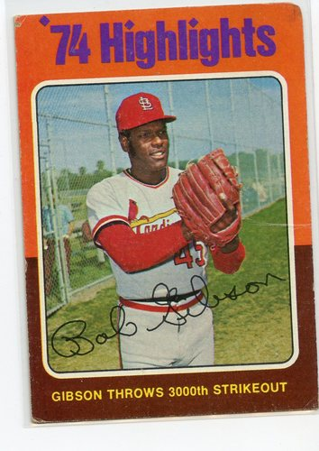 Photo of 1975 Topps #3 Bob Gibson HL/3000th Strikeout