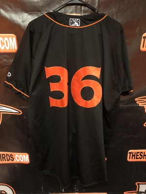 2019 Delmarva Shorebirds GRAYSON RODRIGUEZ Game Used Black Jersey #36 Size XL