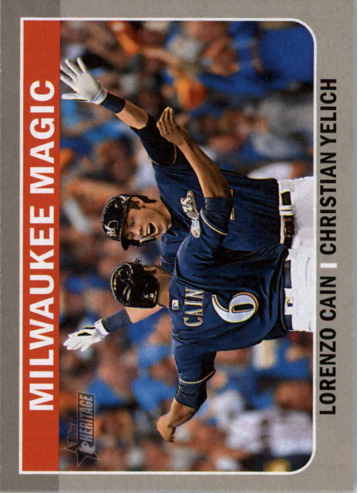 2019 Topps Heritage Combo Cards #CC10 Christian Yelich/Lorenzo Cain