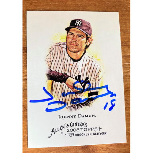Photo of Johnny Damon Autographed New York Yankees 2008 Allen & Ginter's Baseball Card (NOT MLB AUTHENTICATED)