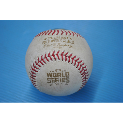 Photo of Game-Used Baseball - 2016 World Series - Game 4 - Pitcher: Andrew Miller, Batter: Dexter Fowler - Fouled Back to Screen - 8th Inning