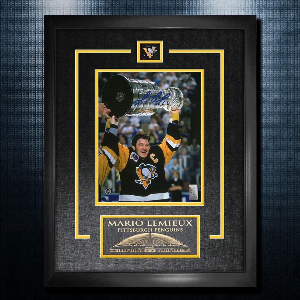 Mario Lemieux Pittsburgh Penguins Autographed 1991 Stanley Cup 18x22 Frame
