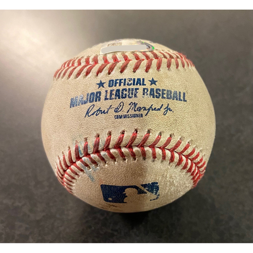 Photo of Game Used Baseball: Batter: Kyle Lewis (2 Run Home Run). Pitcher:  Jesus Luzardo- Bottom 5th (OAK @ SEA -9/14/2020 Game 1)