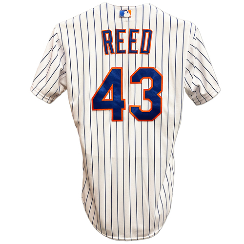 Photo of Addison Reed #43 - Game Used White Pinstripe 2015 Postseason Jersey - NLDS Game 4 - Mets vs. Dodgers - 10/13/15