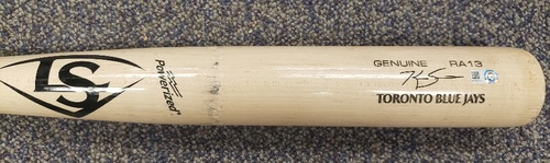 Photo of Authenticated Game Used Cracked Bat: Fly Out by Kevin Smith against Tyler Alexander (Aug 28, 2021 vs DET). Top 7.