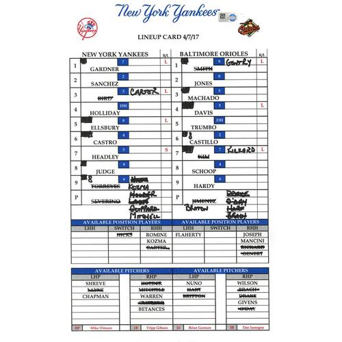 Photo of Yankees at Baltimore 4-7-2017 Game-Used Lineup Card