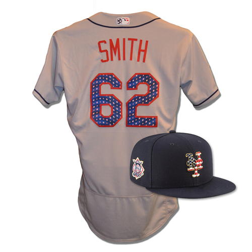 Photo of Drew Smith #62 - Game Used 4th of July Jersey and Hat - Mets vs. Blue Jays - 7/4/18