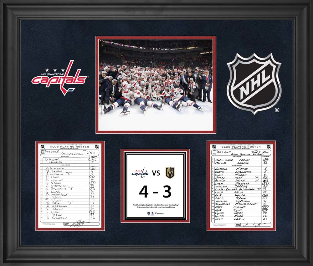 Washington Capitals Framed Original Line-Up Cards from Game 5 of the 2018 Stanley Cup Final on June 7, 2018 vs. Vegas Golden Knights - Washington Capitals Win First Stanley Cup in Franchise History