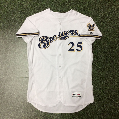 Photo of Ji-Man Choi 2018 Team-Issued Home White Jersey