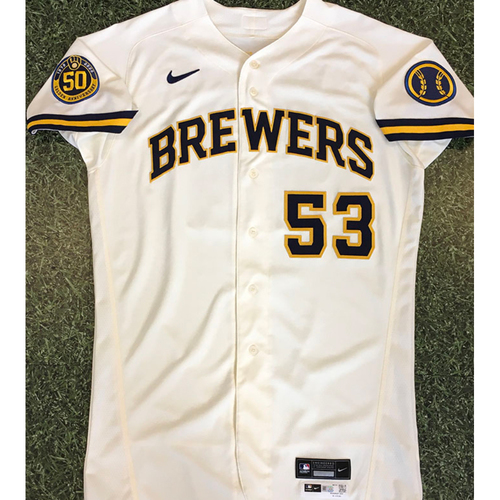 Photo of Brandon Woodruff 2020 Team-Issued Home Cream Jersey