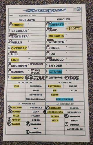 Photo of Authenticated Game Used Lineup Card (September 25, 2010 vs BAL): Lyle Overbay Walk-Off Home Run