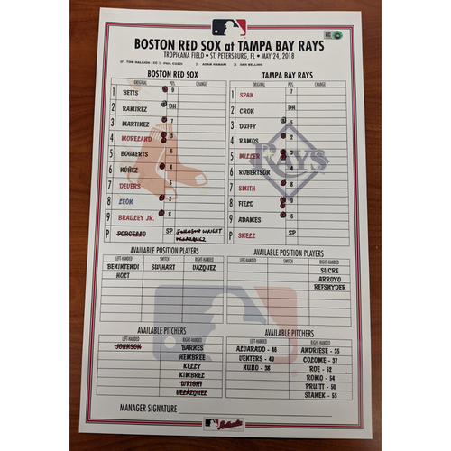 Red Sox at Rays May 24, 2018 Game Used Lineup Card - Rays Win 6 to 3