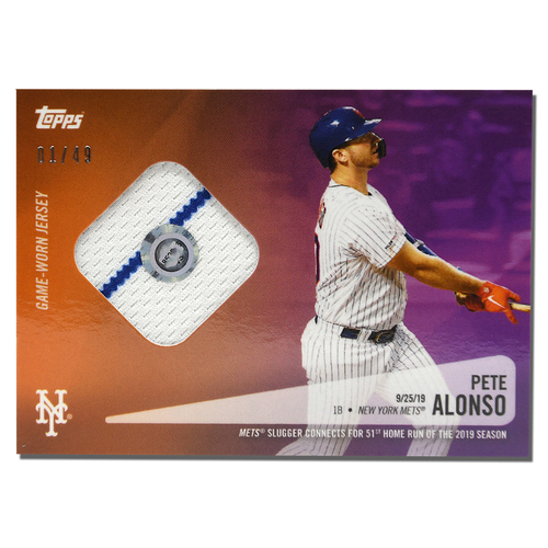 Photo of Pete Alonso #20 - Limited Edition of 49 Purple Topps Card - Features Authenticated Game Used Jersey from 2019 Rookie of the Year Campaign - Alonso Hits 51st HR on 9/25/19