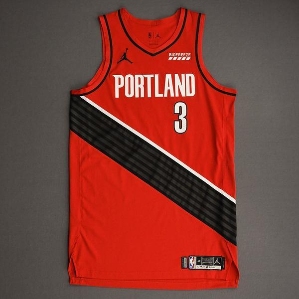 Image of CJ McCollum - Portland Trail Blazers - Game-Worn Statement Edition Jersey - Scored 21 points - 2021 NBA Playoffs