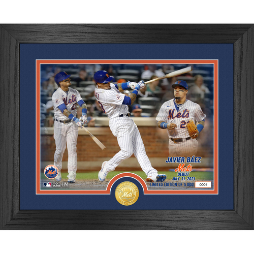 Photo of Javier Baez Mets Debut Game Bronze Coin Photo Mint LE