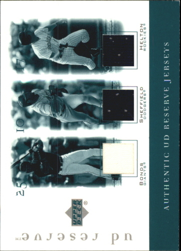 Photo of 2001 UD Reserve Game Jersey Trios #JBSH Barry Bonds/Gary Sheffield/Todd Helton
