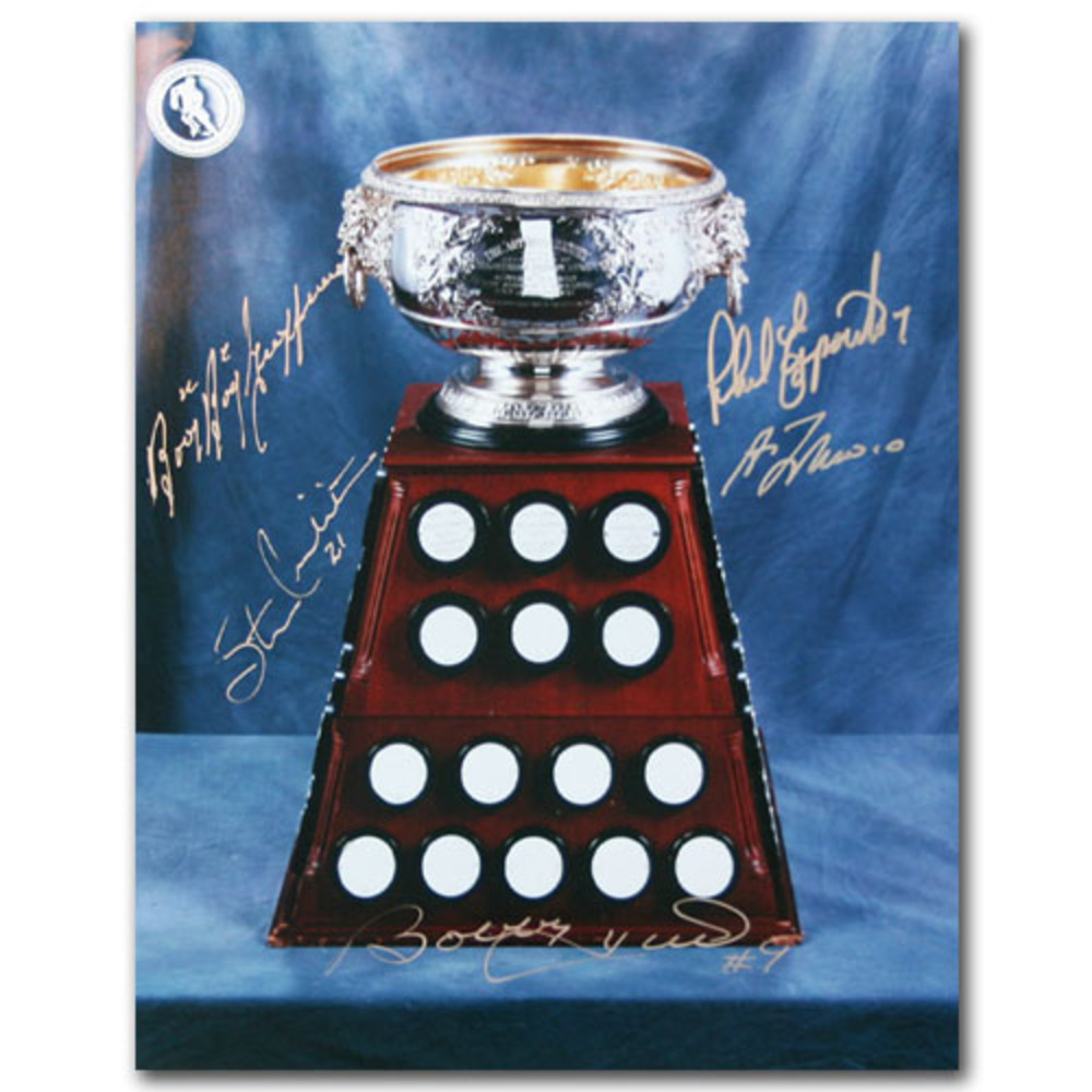Art Ross Trophy 11X14 Photo Signed by - Bo. Hull, Lafleur, Geoffrion, Mikita & Esposito