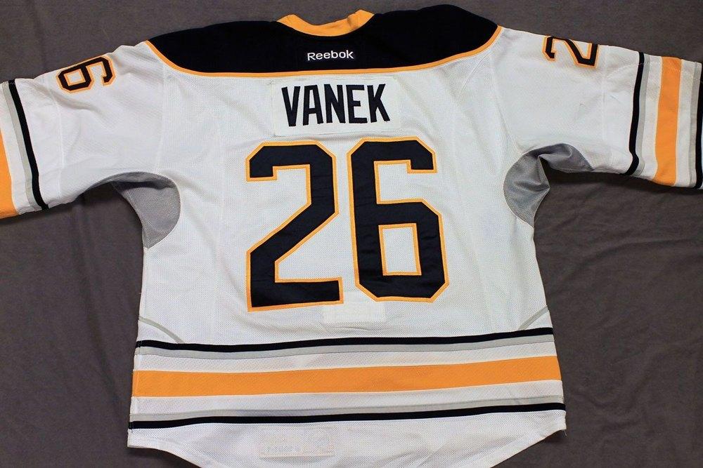 Thomas Vanek Game Worn Buffalo Sabres Away Jersey.  Serial: 1001-1. Set 1 - Size 54.  2013-14 season.
