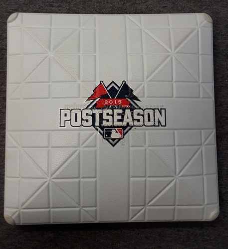 Photo of Authenticated Game Used Base - 3rd base for Inning 9. ALCS Game 5 vs KC (October 21, 2015)