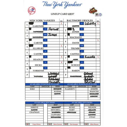 Yankees at Baltimore 4-8-2017 Game Used Lineup Card
