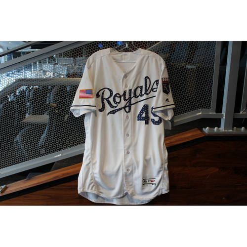 Photo of Game-Used Stars & Stripes Jersey: Heath Fillmyer (Size 46 - CLE @ KC - 7/4/18)