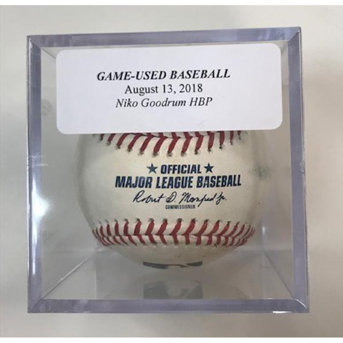 Photo of Game-Used Baseball: Niko Goodrum Hit by Pitch