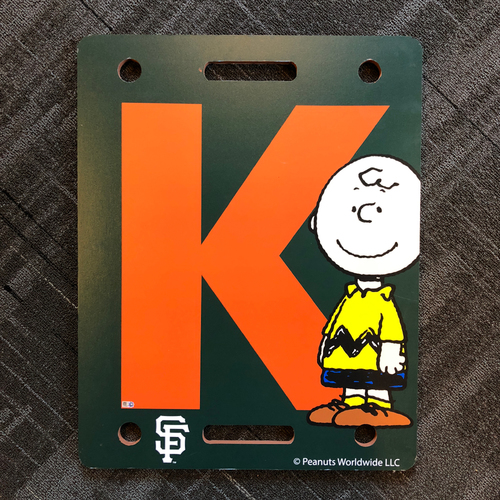 "Photo of San Francisco Giants - 2018 Game Used Strikeout ""K Board"" - PEANUTS Day - Charlie Brown - Strikeout #6"