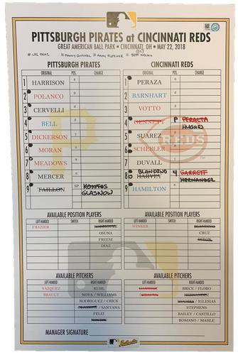 Photo of Game-Used Lineup Card from Pirates vs. Reds on 5/22/18 - Brandon Dixon MLB Debut
