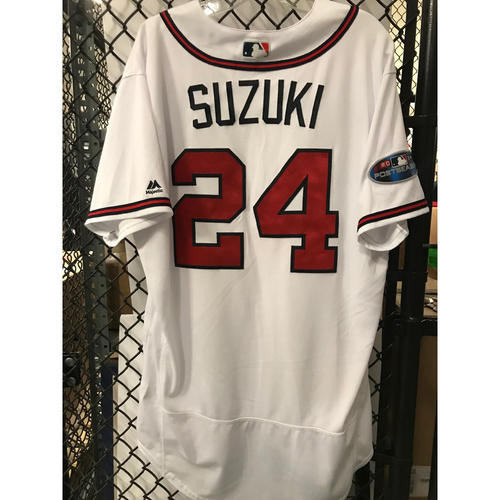 Photo of Kurt Suzuki Game-Used 2018 NLDS Jersey - Worn 10/7/18 - First Postseason Game at SunTrust Park