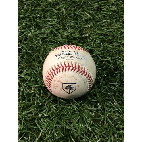 Photo of Spring Training Game Used Baseball: LJ Mazzilli single off Curtis Taylor - February 24, 2019 v NYY