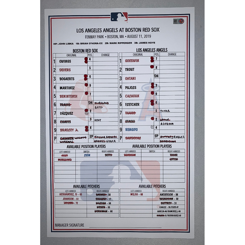 Photo of Los Angeles Angels VS Boston Red Sox August 11, 2019 Game Used Lineup Card - Angels Win 5 to 4