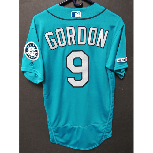 Photo of Dee Gordon Game-Used Home Green Jersey - Orioles vs. Mariners - 6/21/19