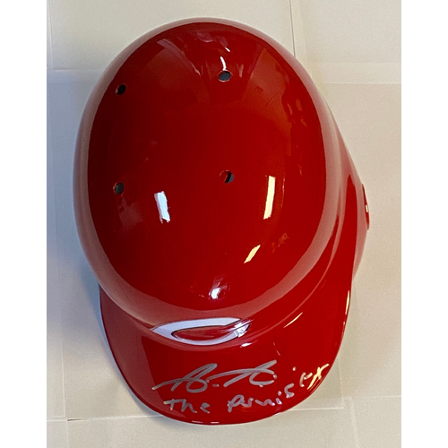 "Photo of Aristides Aquino Autographed ""The Punisher"" Reds Batting Helmet"